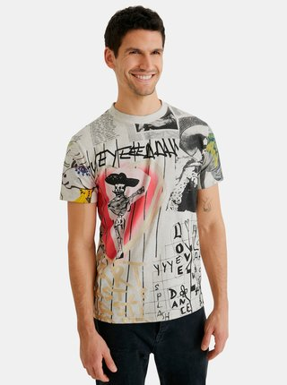 Světle šedé pánské vzorované tričko Desigual Mexican Skull