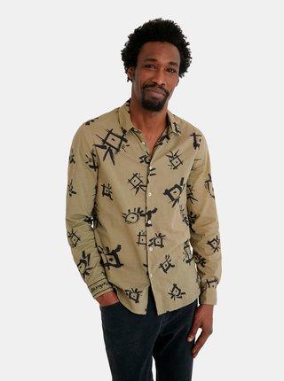 Khaki pánská vzorovaná košile Desigual Ojos