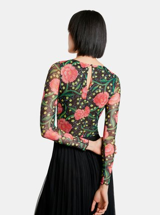 Růžovo-černé dámské květované tričko Desigual Sally