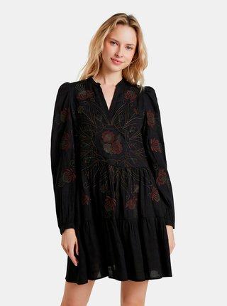 Čierne kvetované šaty Desigual Hortensia