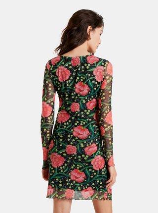Růžovo-černé květované pouzdrové šaty Desigual Roiane