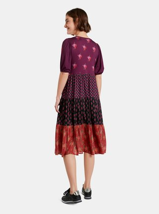Červeno-fialové kvetované šaty Desigual Dover