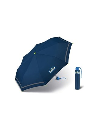 Scout BASIC BLUE dětský skládací deštník s reflexním proužkem - Modrá