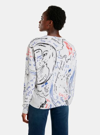 Biely dámsky vzorovaný sveter Desigual Boston