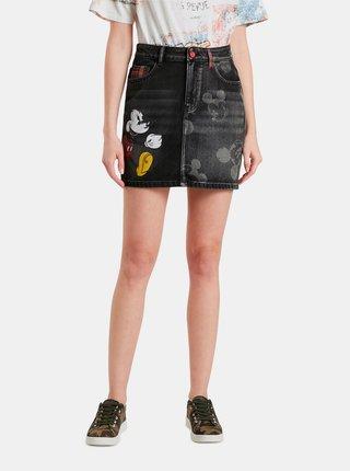 Čierna dámska sukňa s motívom Desigual Mickey