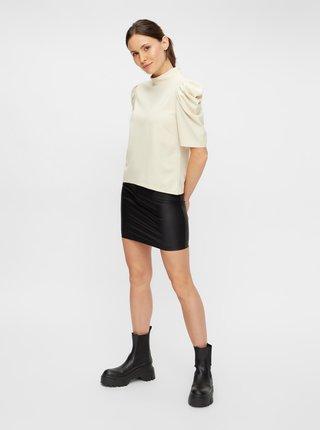 Čierna koženková púzdrová mini sukňa Pieces New Shiny