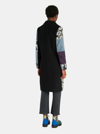 Černo-modrý dámský vzorovaný kabát Desigual Hamburgo