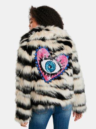 Černo-krémová dámská vzorovaná bunda z umělého kožíšku Desigual Li