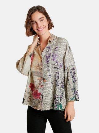 Béžová dámska vzorovaná voľná košeľa Desigual New York