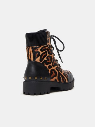 Hnedé dámske kožené členkové topánky s leopardím vzorom Desigual Biker Leopard