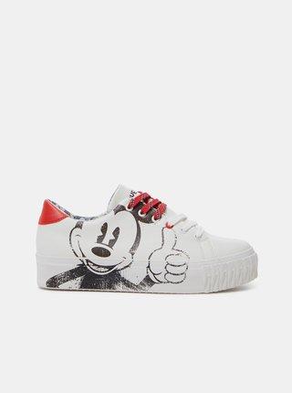 Bílé dámské tenisky s motivem Desigual Street Mickey