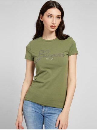 Tričká s krátkym rukávom pre ženy Guess - zelená