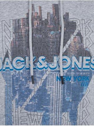 Mikiny s kapucou pre mužov Jack & Jones - sivá