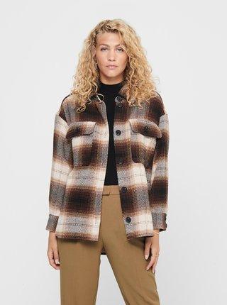 Hnědá lehká kostkovaná košilová bunda Jacqueline de Yong Toby