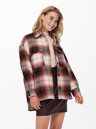 Vínová kostkovaná košilová bunda Jacqueline de Yong Toby
