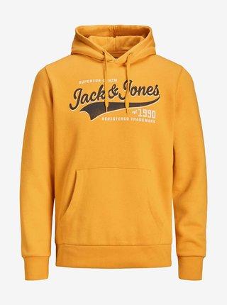 Mikiny s kapucou pre mužov Jack & Jones - oranžová