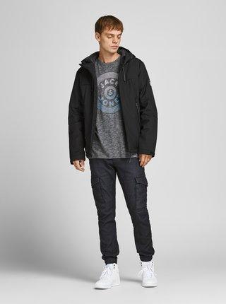 Černá zimní bunda s kapucí Jack & Jones Dexter