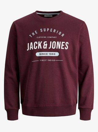 Mikiny bez kapuce pre mužov Jack & Jones - vínová