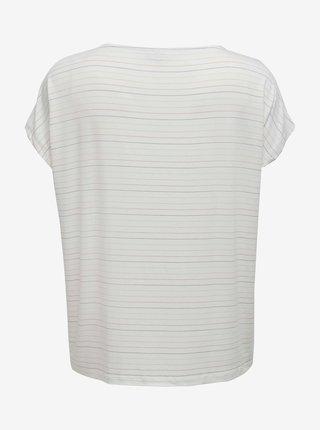Krémové pruhované tričko ONLY CARMAKOMA Moster