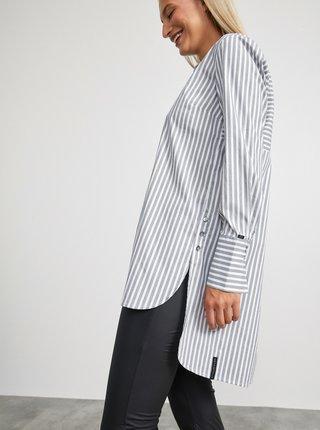 Šedo-bílá dámská pruhovaná dlouhá košile METROOPOLIS Maci