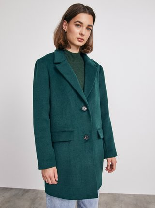 Tmavě zelený dámský vlněný zimní kabát METROOPOLIS Toini