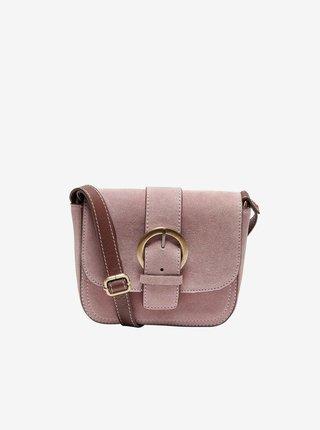 Světle růžová semišová crossbody kabelka ONLY Isabella