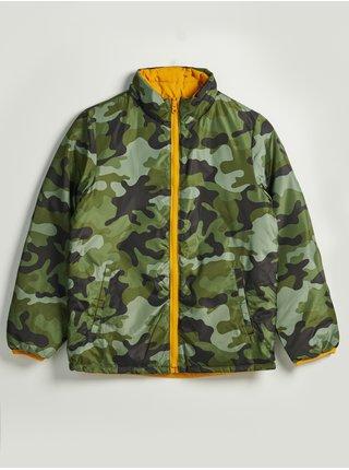 Zelená klučičí bunda maskáčová