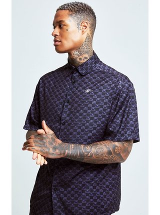 Tmavě modrá pánská vzorovaná košile  SHIRT RESORT MONOGRAM