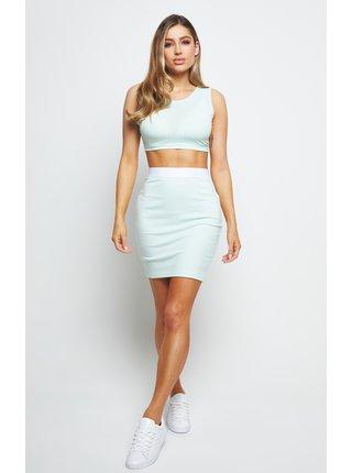 Tyrkysová dámská pouzdrová sukně SKIRT TUBE RIB