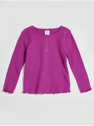 Růžové holčičí tričko žebrované