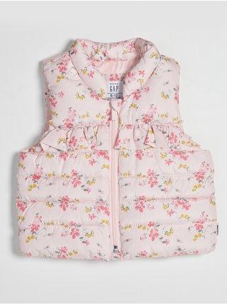 Růžová holčičí vesta prošívaná