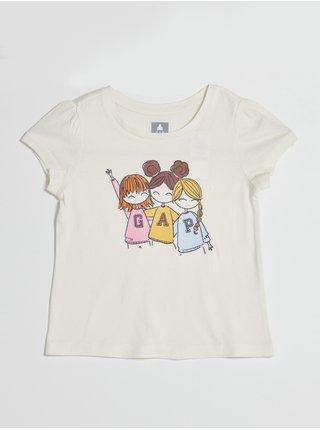 Smetanové holčičí tričko s potiskem