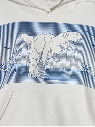 Bílá klučičí mikina s dinosaurem