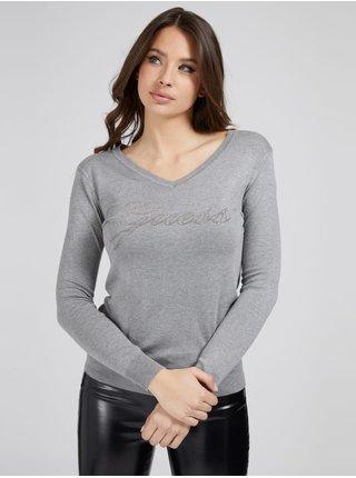 Tričká s dlhým rukávom pre ženy Guess - sivá