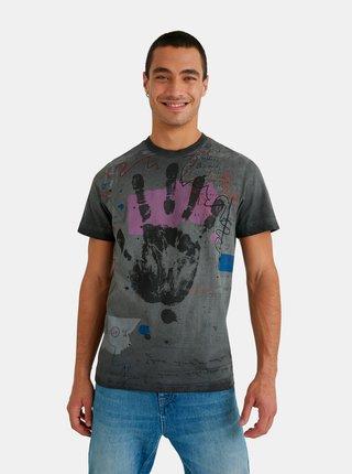 Tmavošedé pánske vzorované tričko Desigual Roy