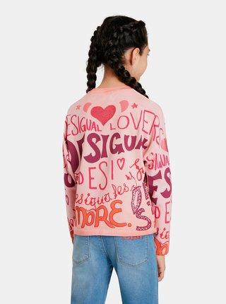 Růžové holčičí vzorované tričko s dlouhým rukávem Desigual Girl