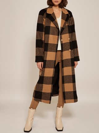 Čierno-hnedý kockovaný kabát VILA Shirley