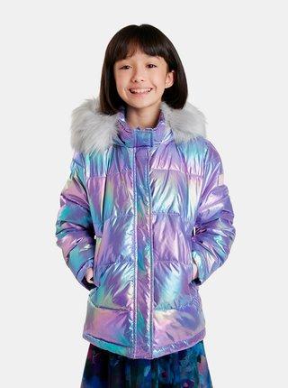 Modro-fialová dievčenské metalická bunda Desigual Yang Tse