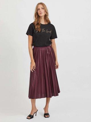 Vínová plisovaná midi sukňa VILA Nitban