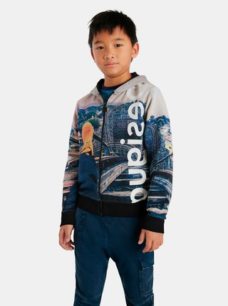 Šedo-modrá chlapčenská vzorovaná mikina Desigual Horizonte