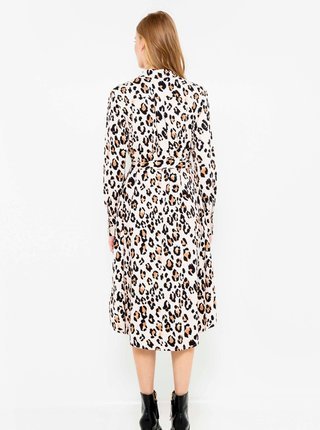 Béžové košilové šaty s leopardím vzorem CAMAIEU