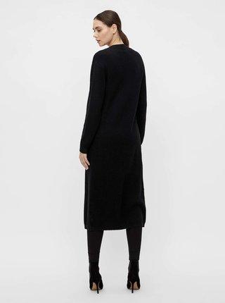 Černý dlouhý žebrovaný kardigan .OBJECT Malena