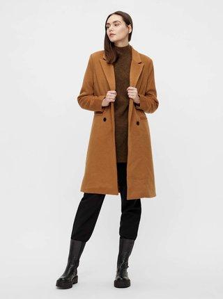 Hnědý kabát s příměsí vlny .OBJECT Linea