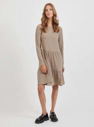 Béžové žebrované šaty VILA Elita