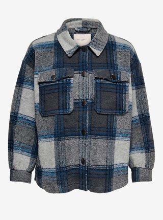 Modro-šedá kostkovaná košilová bunda ONLY CARMAKOMA Andrea