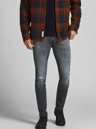 Tmavě šedé skinny fit džíny Jack & Jones Iliam