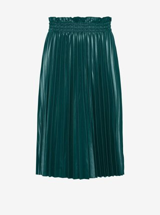 Tmavozelená plisovaná koženková sukňa VERO MODA Nellie