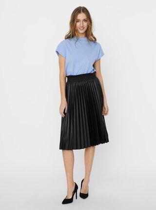 Černá plisovaná koženková sukně VERO MODA Nellie