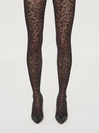 Černé vzorované punčochové kalhoty VERO MODA Leomatic