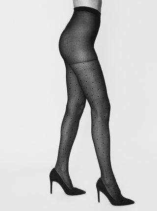 Černé puntíkované punčochové kalhoty VERO MODA Galla